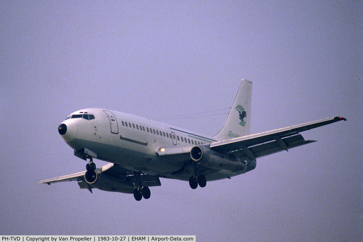 PH-TVD, 1975 Boeing 737-2K2C C/N 20943, Boeing 737-2K2C of Transavia Holland, leased to Eagle Air of Iceland, landing at Schiphol airport, the Netherlands, 1983
