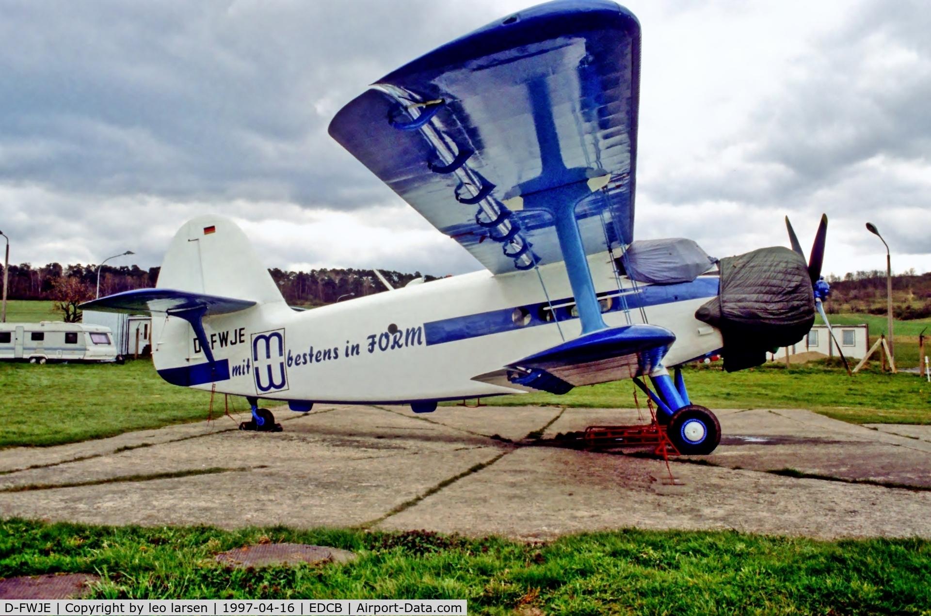 D-FWJE, 1991 Antonov An-2T C/N 1G106-69, Ballenstedt 16.4.1997