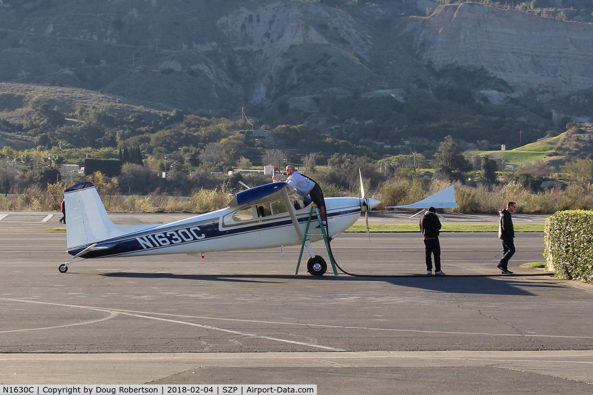 N1630C, 1953 Cessna 180 C/N 30330, 1953 Cessna 180, Continental O-470 230 Hp, at Fuel Dock refueling