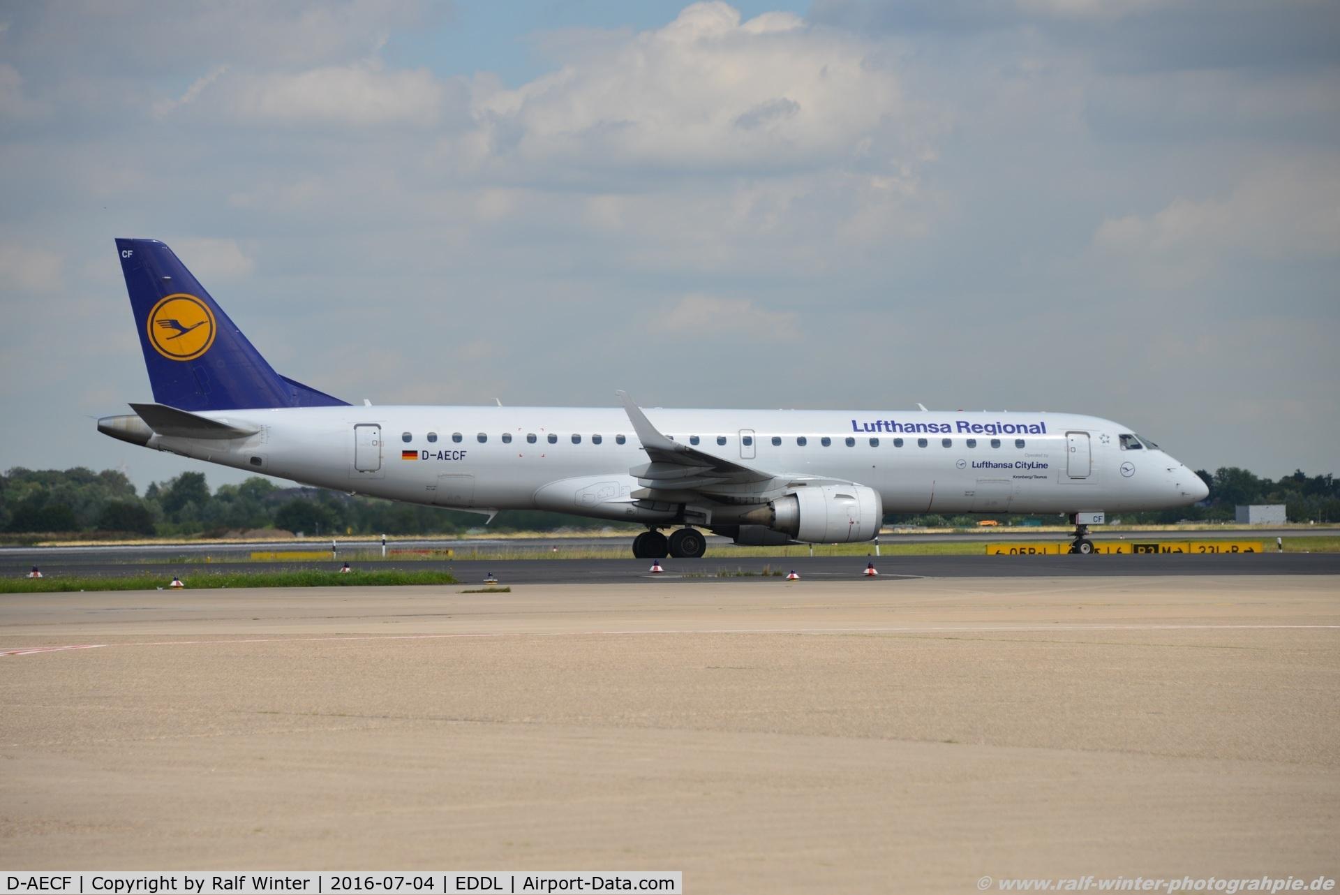 D-AECF, 2010 Embraer 190LR (ERJ-190-100LR) C/N 19000359, Embraer ERJ-190AR - CL CLH Lufthansa Cityline 'Kronberg/Taunus' - 19000359 - D-AECF - 04.07.2016 - DUS