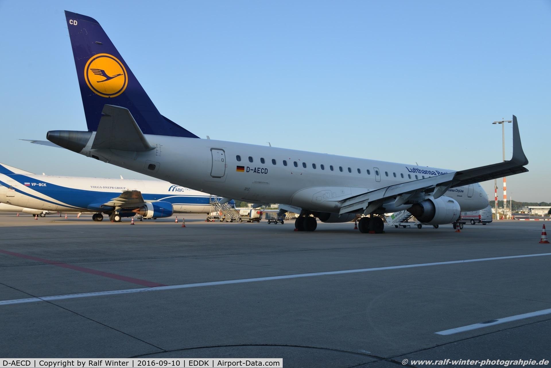 D-AECD, 2010 Embraer 190LR (ERJ-190-100LR) C/N 19000337, Embraer ERJ-190LR - CL CLH Lufthansa Cityline 'Schkeudiz- 19000337 - D-AECD - 10.09.2016 - CGN
