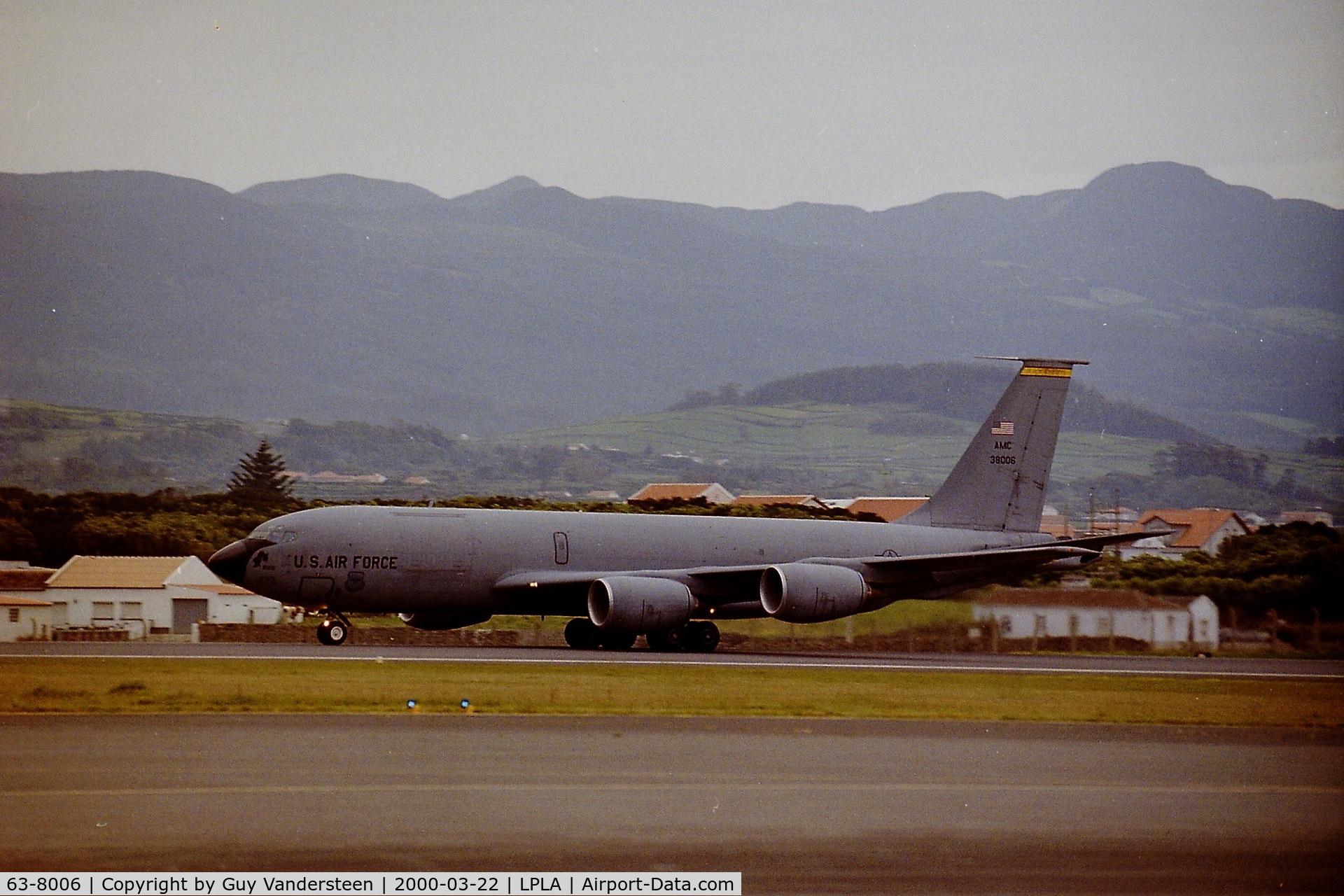 63-8006, 1963 Boeing KC-135R Stratotanker C/N 18623, KC-135R at Lajes Field in support of EPAF F-16's transatlantic flight to Red Flag 2000-3