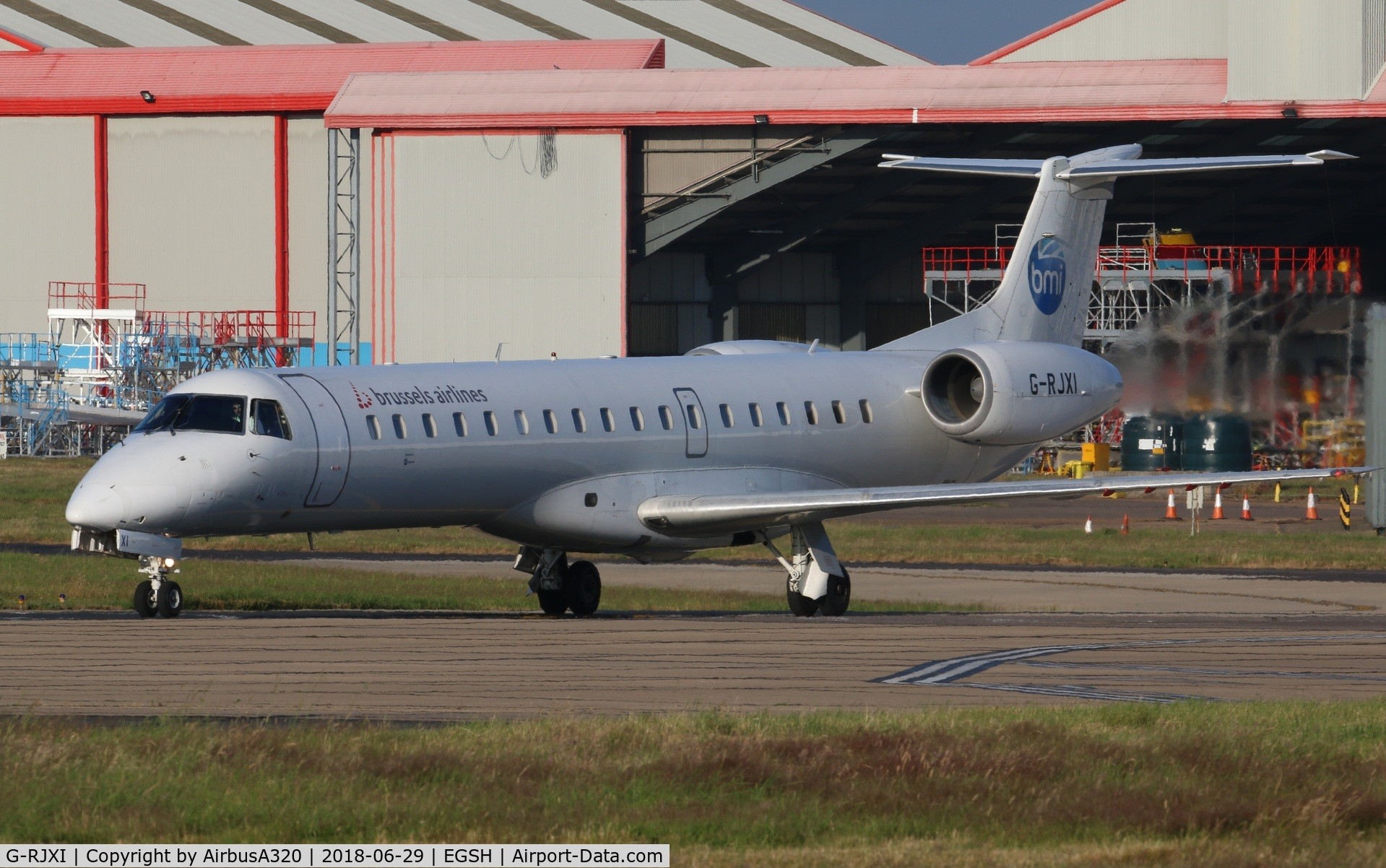 G-RJXI, 2001 Embraer EMB-145EP (ERJ-145EP) C/N 145454, Push back from stand 1 Aberdeen bound