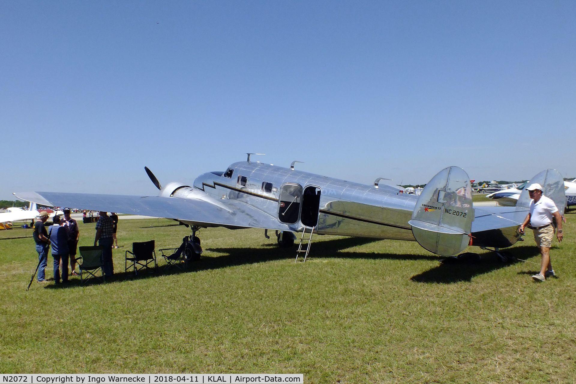 N2072, 1936 Lockheed 12A Electra Junior C/N 1208, Lockheed 12A Electra Junior at 2018 Sun 'n Fun, Lakeland FL