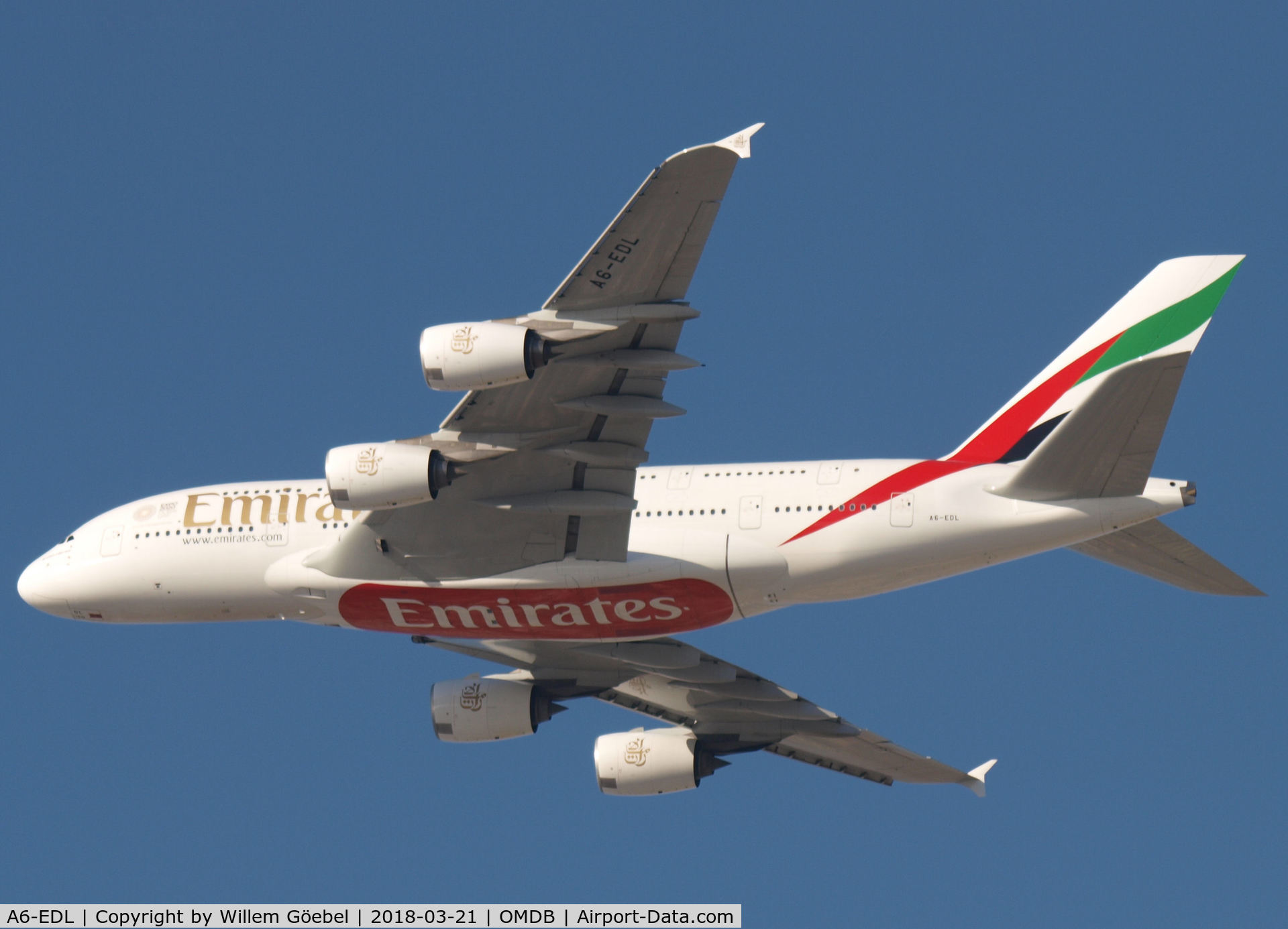 A6-EDL, 2010 Airbus A380-861 C/N 046, Take off from DUBAI INTERNATIONAL Airport