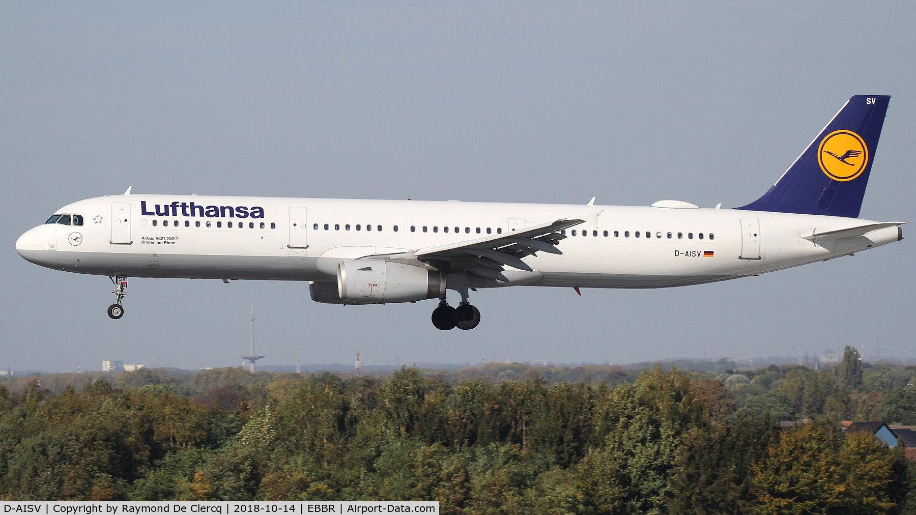 D-AISV, 2009 Airbus A321-231 C/N 4050, Landing at Brussels.