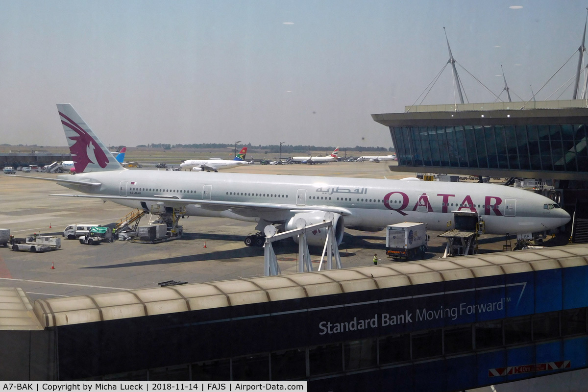 A7-BAK, 2010 Boeing 777-3DZ/ER C/N 36097, At O.R. Tambo