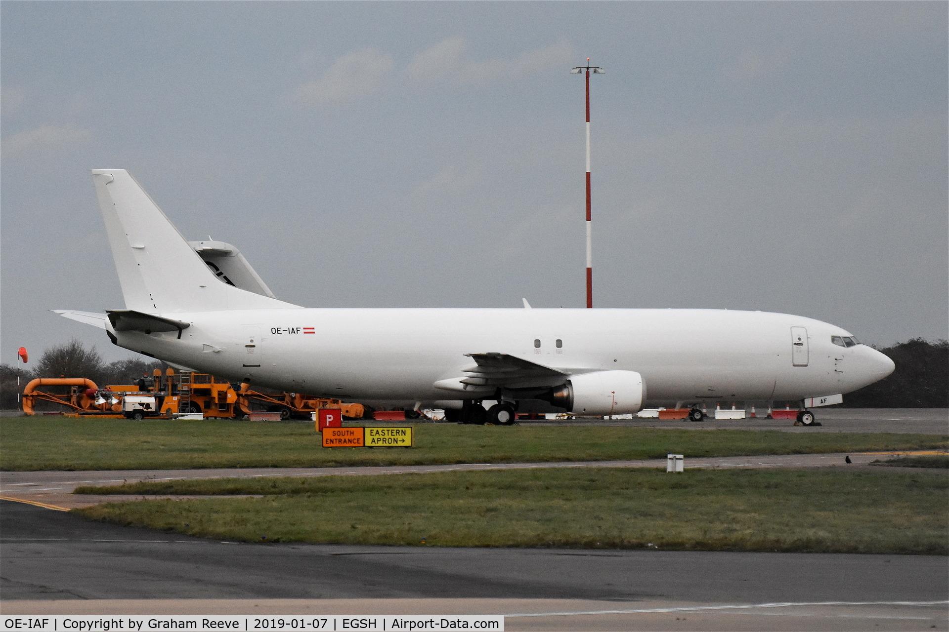 OE-IAF, 1992 Boeing 737-4YO(SF) C/N 25184, Parked at Norwich.
