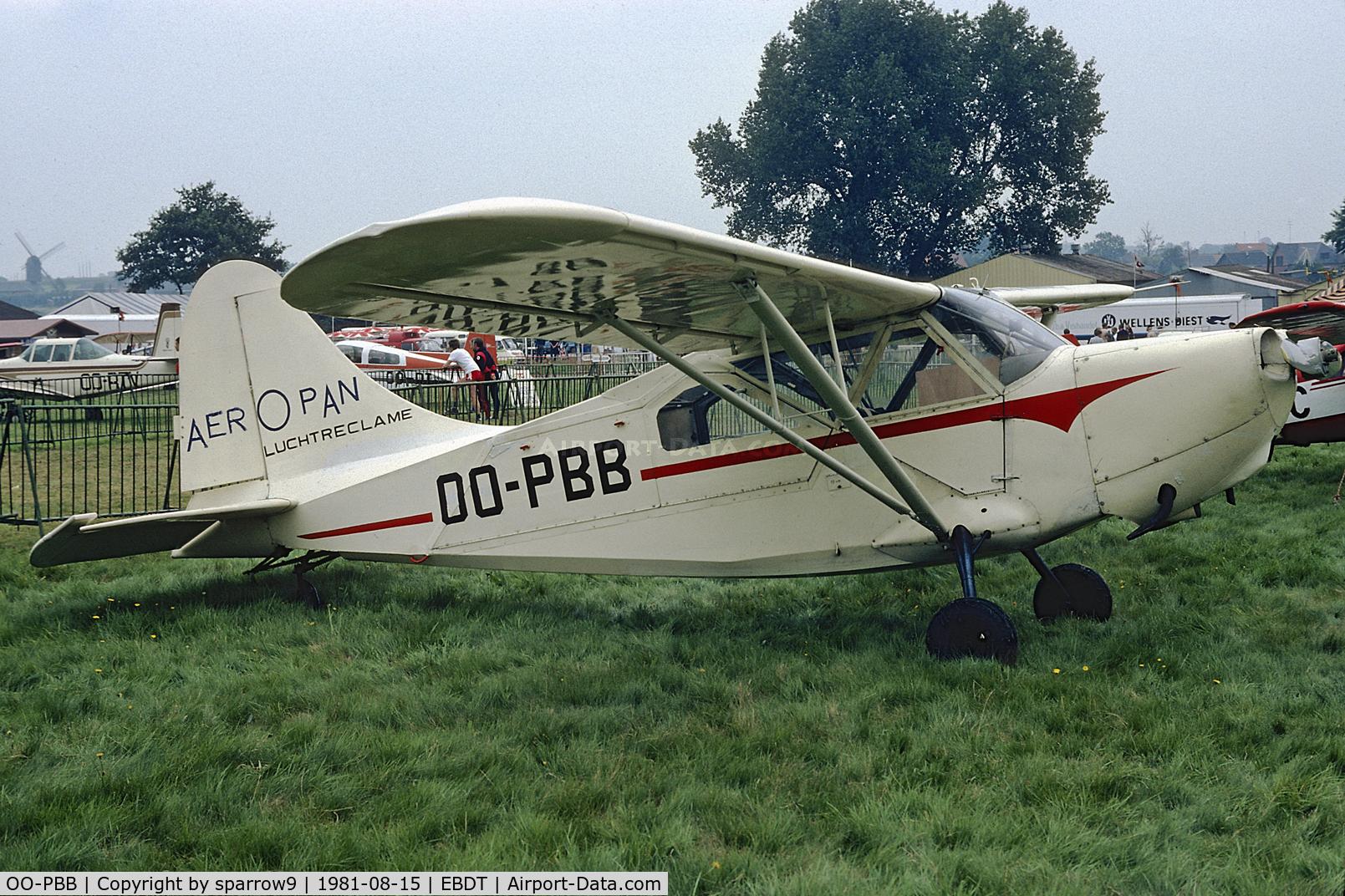 OO-PBB, 1944 Stinson L-5B Sentinel C/N 76-3401, 1981-08-15