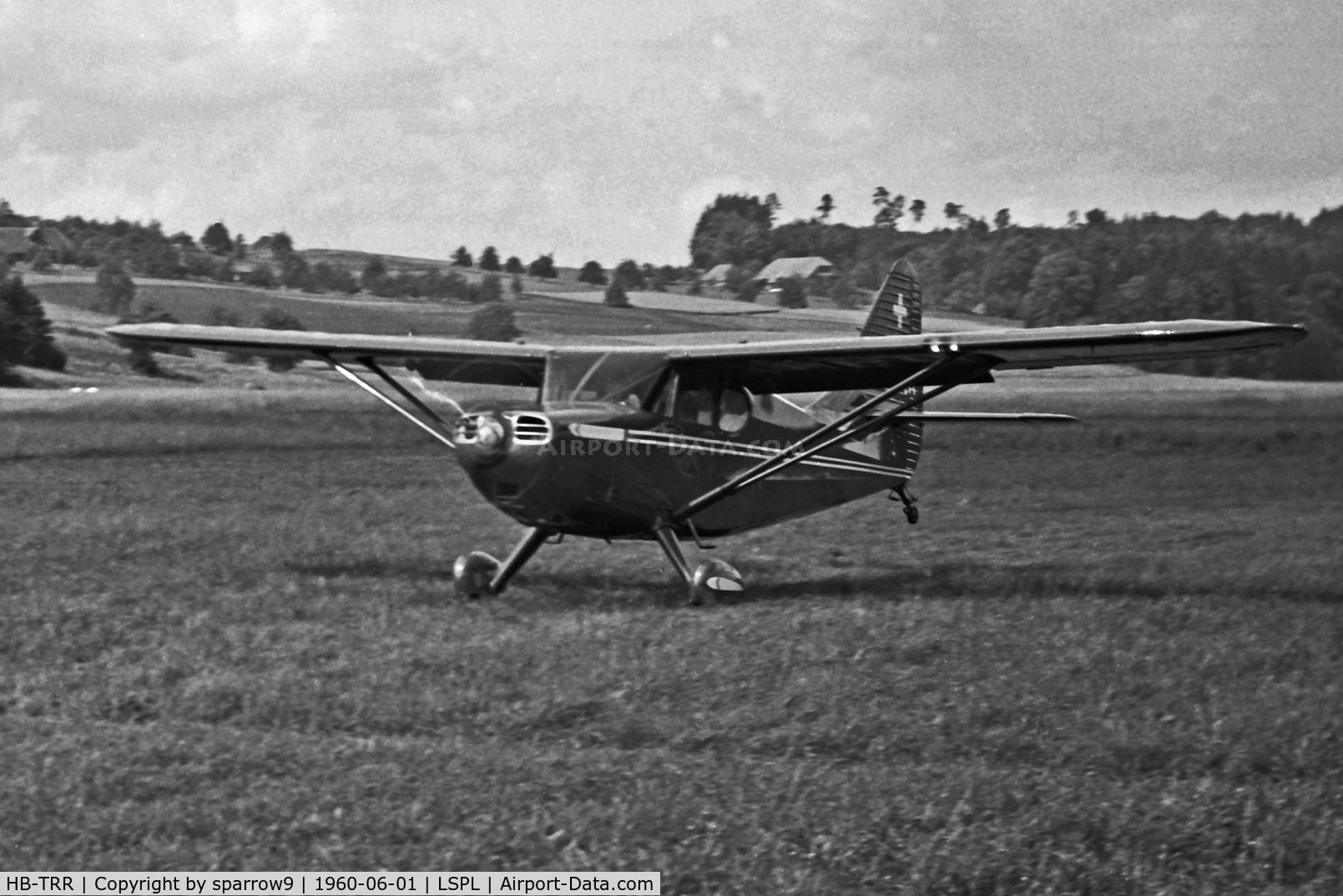 HB-TRR, 1947 Stinson 108-3 Voyager Voyager C/N 108-3920, At Langenthal-Bleienbach airfield in the sixties.