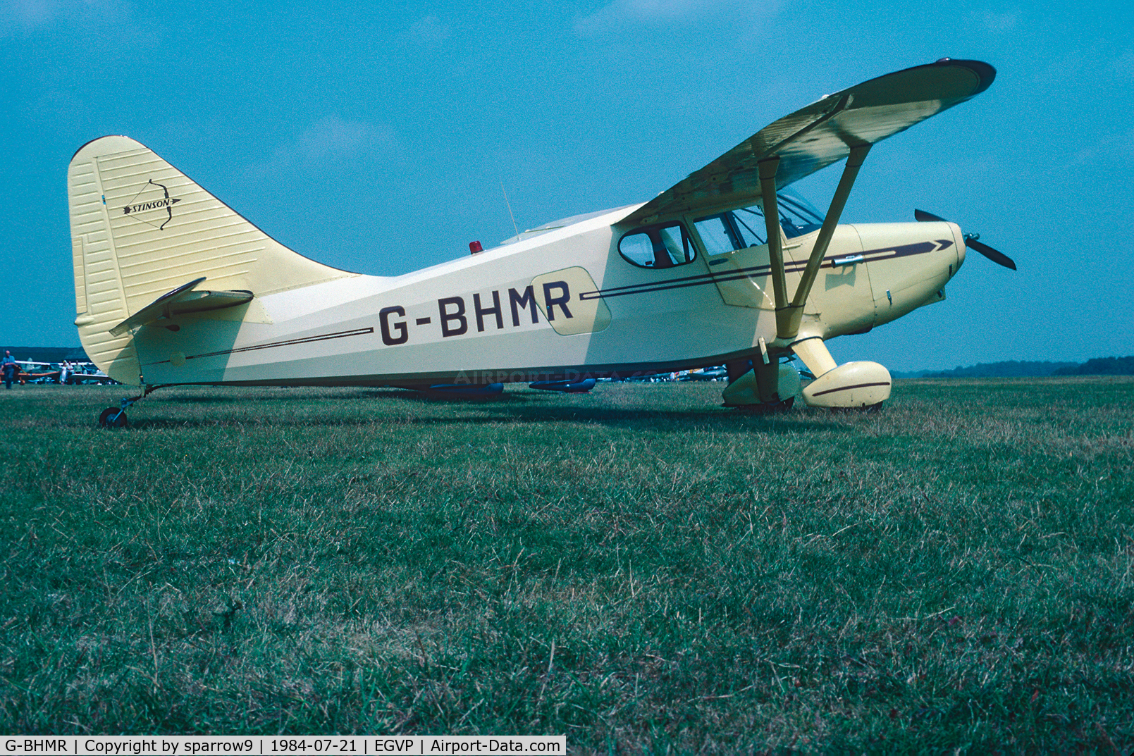 G-BHMR, 1948 Stinson Flying Station Wagon C/N 108-4352, Air-Britain Rally at Middle-Wallop. Scanned from a slide.