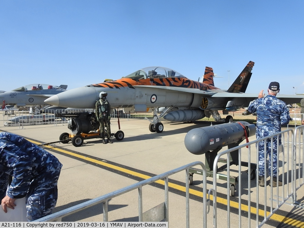 A21-116, McDonnell Douglas F/A-18B Hornet C/N 614/ATF116, A21-116 FA-18B Hornet at Avalon Air Show 2019. The distinctive tiger stripe paintwork is to commemorate the last year of the Classic Tigers squadron. The squadron will re-equip with F35A Lightning II's at the end of this year.