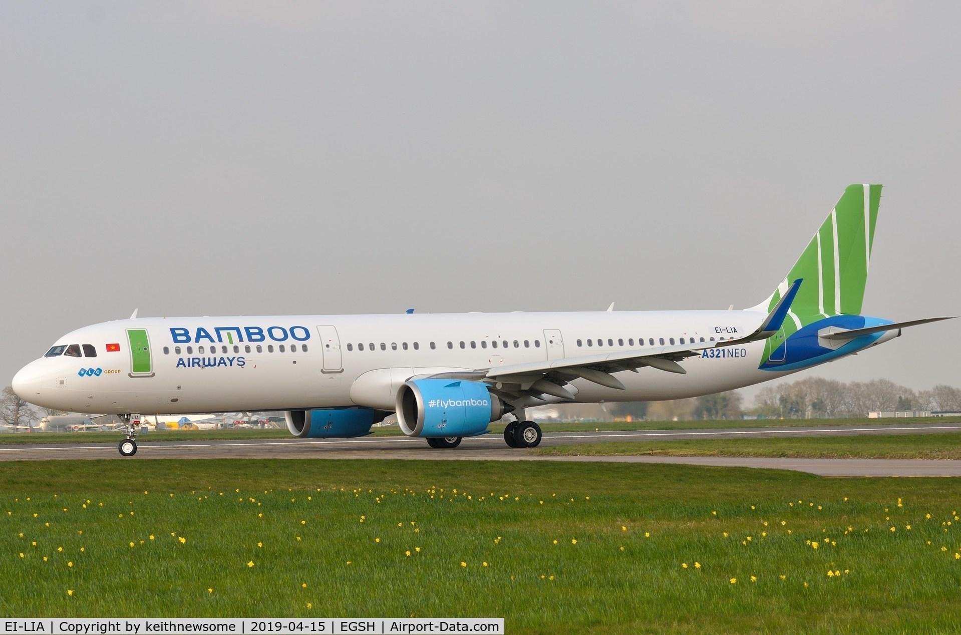 EI-LIA, 2018 Airbus A321-251N C/N 8260, Bamboo Airways leaving Norwich for Newquay.