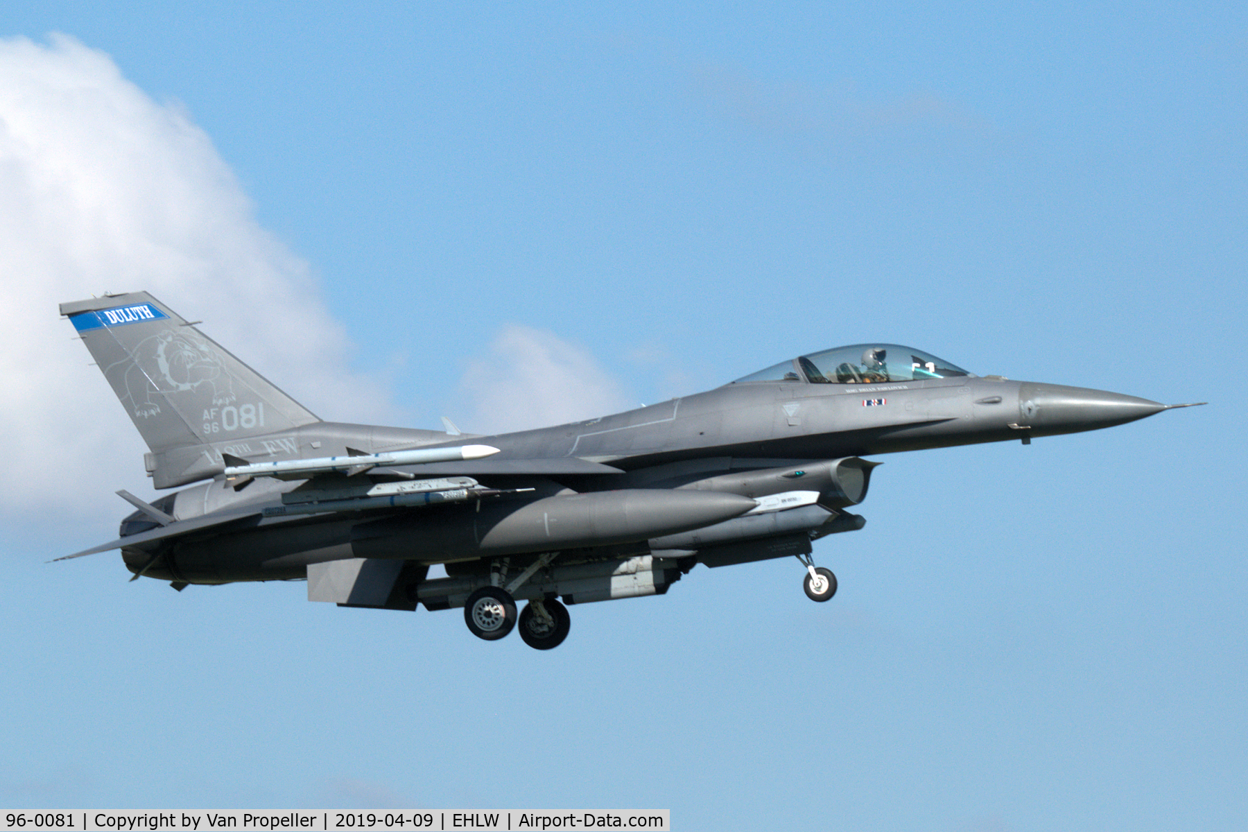 96-0081, 1996 General Dynamics F-16CM Fighting Falcon C/N CC-203, Minnesota ANG F-16C landing at Leeuwarden air base, the Netherlands, Frisian Flag 2019
