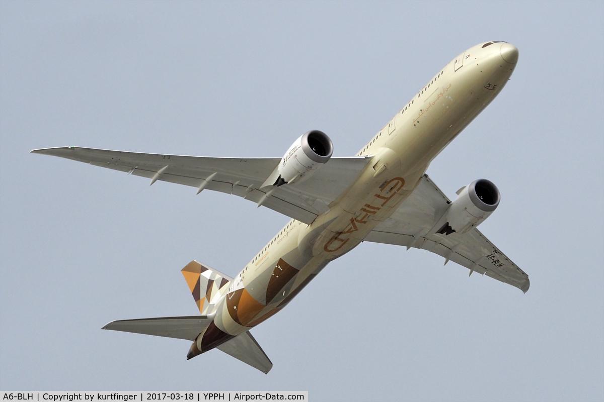 A6-BLH, 2016 Boeing 787-9 Dreamliner C/N 39653, Boeing 787-9 Etihad, A6-BLH, departed runway 21. YPPH 180317.