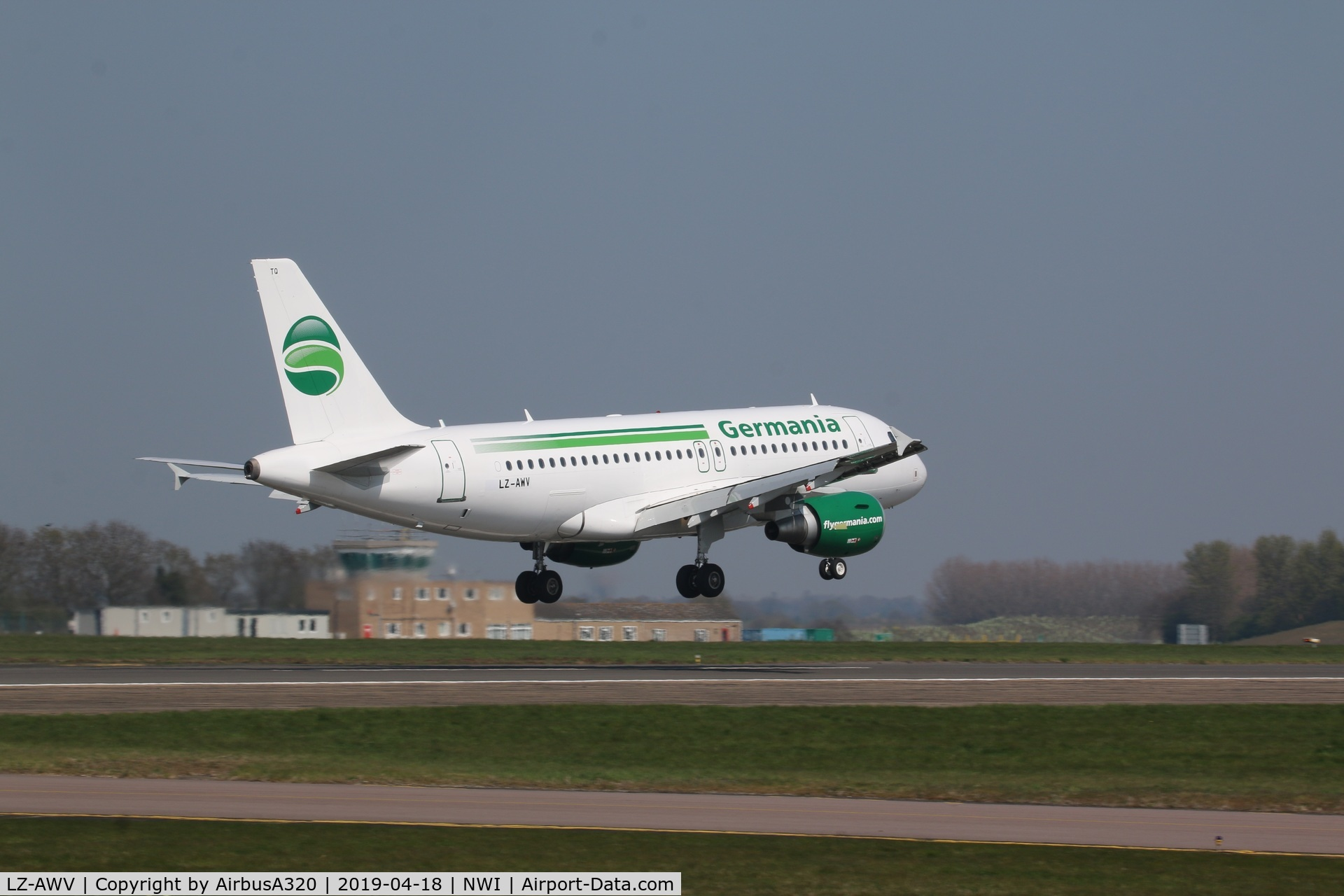 LZ-AWV, 2008 Airbus A319-100 C/N 3403, Landing on Rwy 09 at NWI