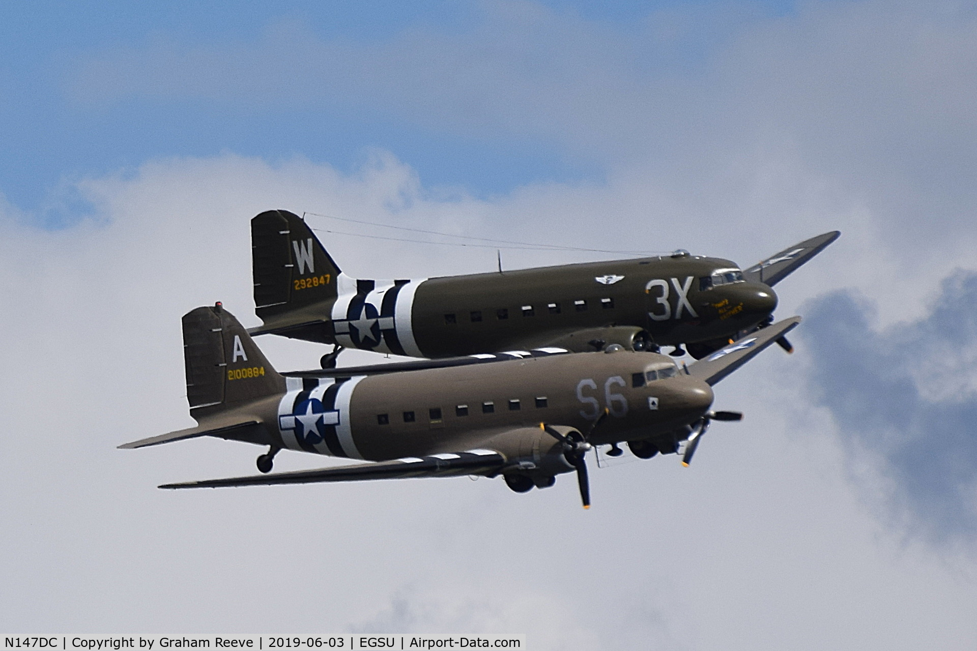 N147DC, 1943 Douglas C-47A Skytrain C/N 19347, N147DC and N47TB in formation over Duxford.