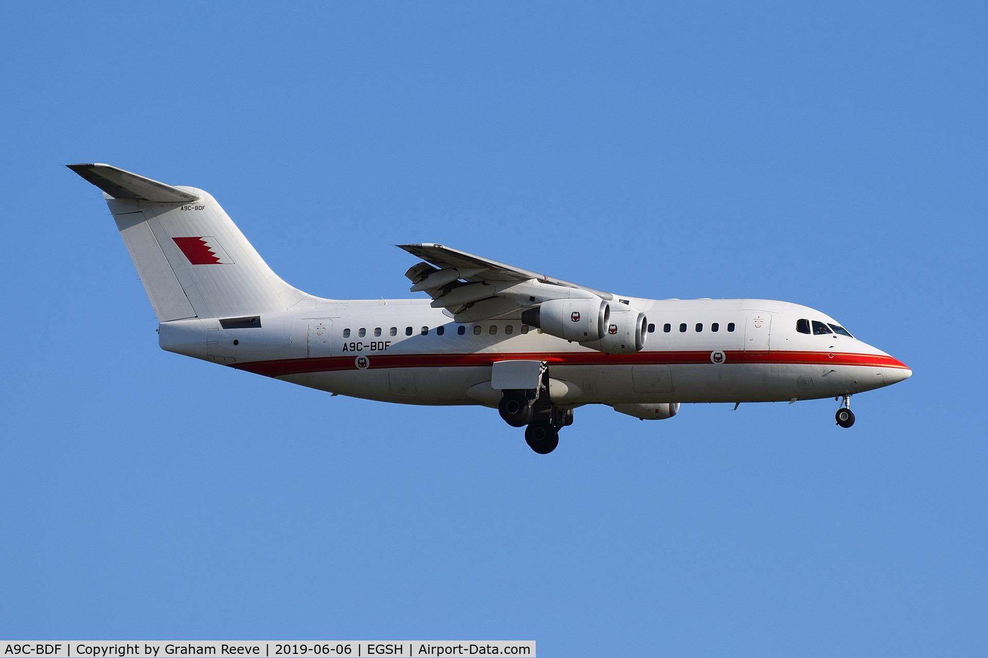 A9C-BDF, 2001 BAE Systems Avro 146-RJ85 C/N E.2390, Landing at Norwich.