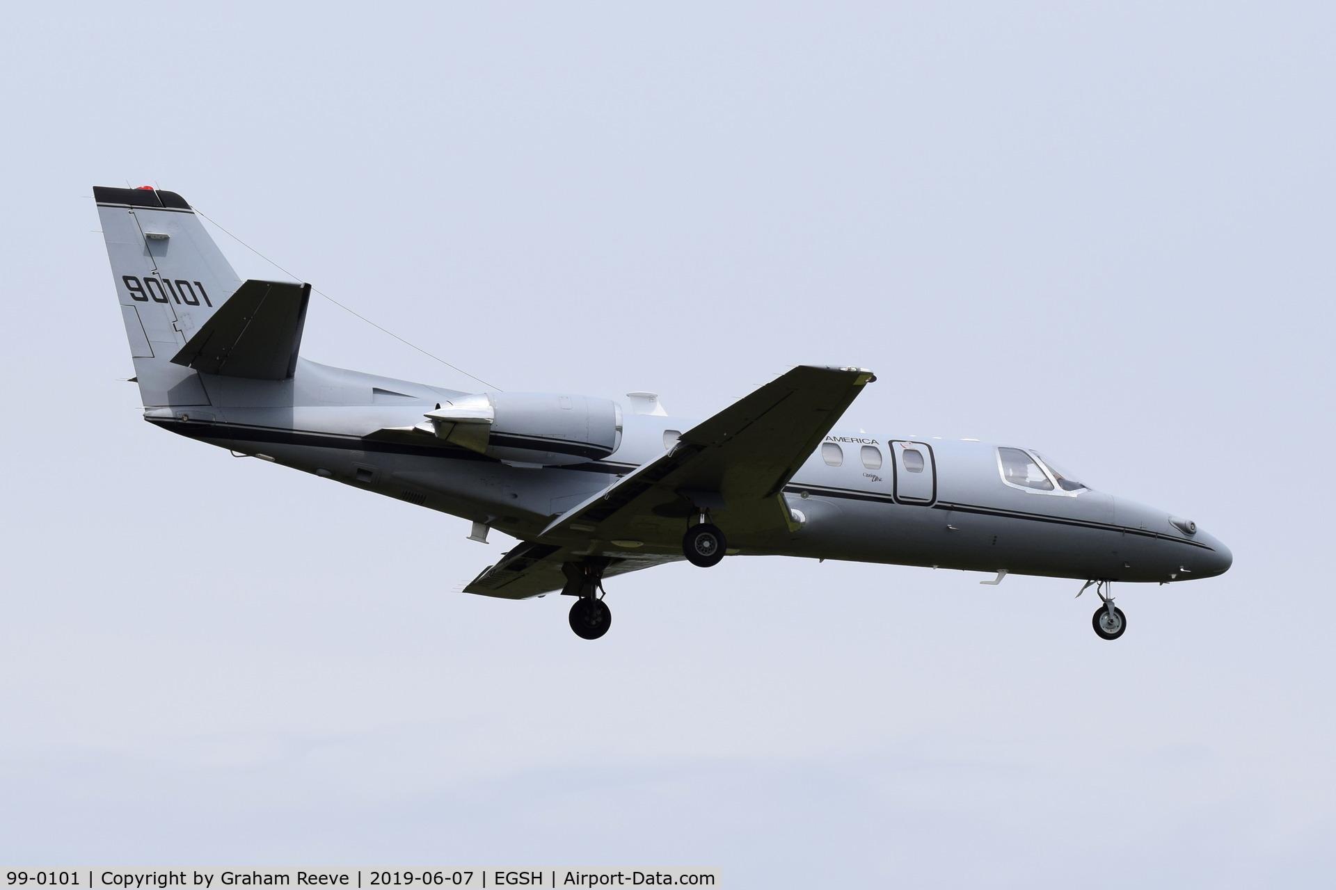 99-0101, 1999 Cessna UC-35A Citation Ultra C/N 560-0534, Landing at Norwich.