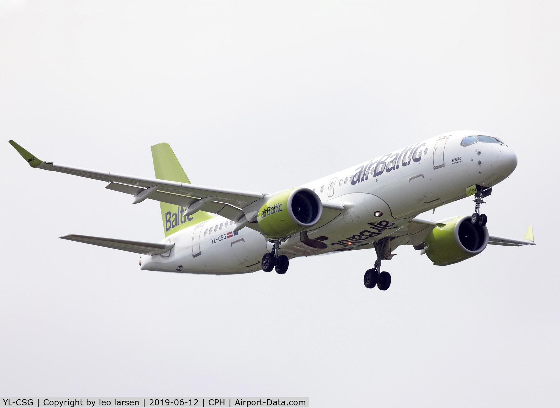YL-CSG, 2017 Bombardier CSeries CS300 (BD-500-1A11) C/N 55009, Copenhagen 12.6.2019