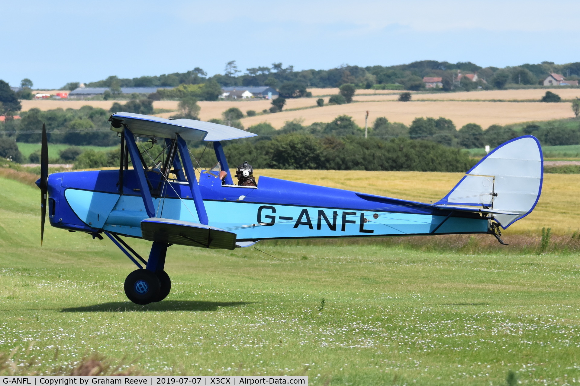 G-ANFL, 1941 De Havilland DH-82A Tiger Moth II C/N 84617, Departing from Northrepps.