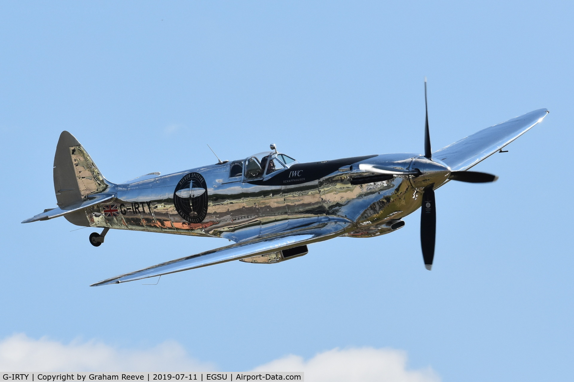 G-IRTY, 1943 Supermarine 361 Spitfire LF.IXc C/N CBAF.IX.970, Over head at Duxford.