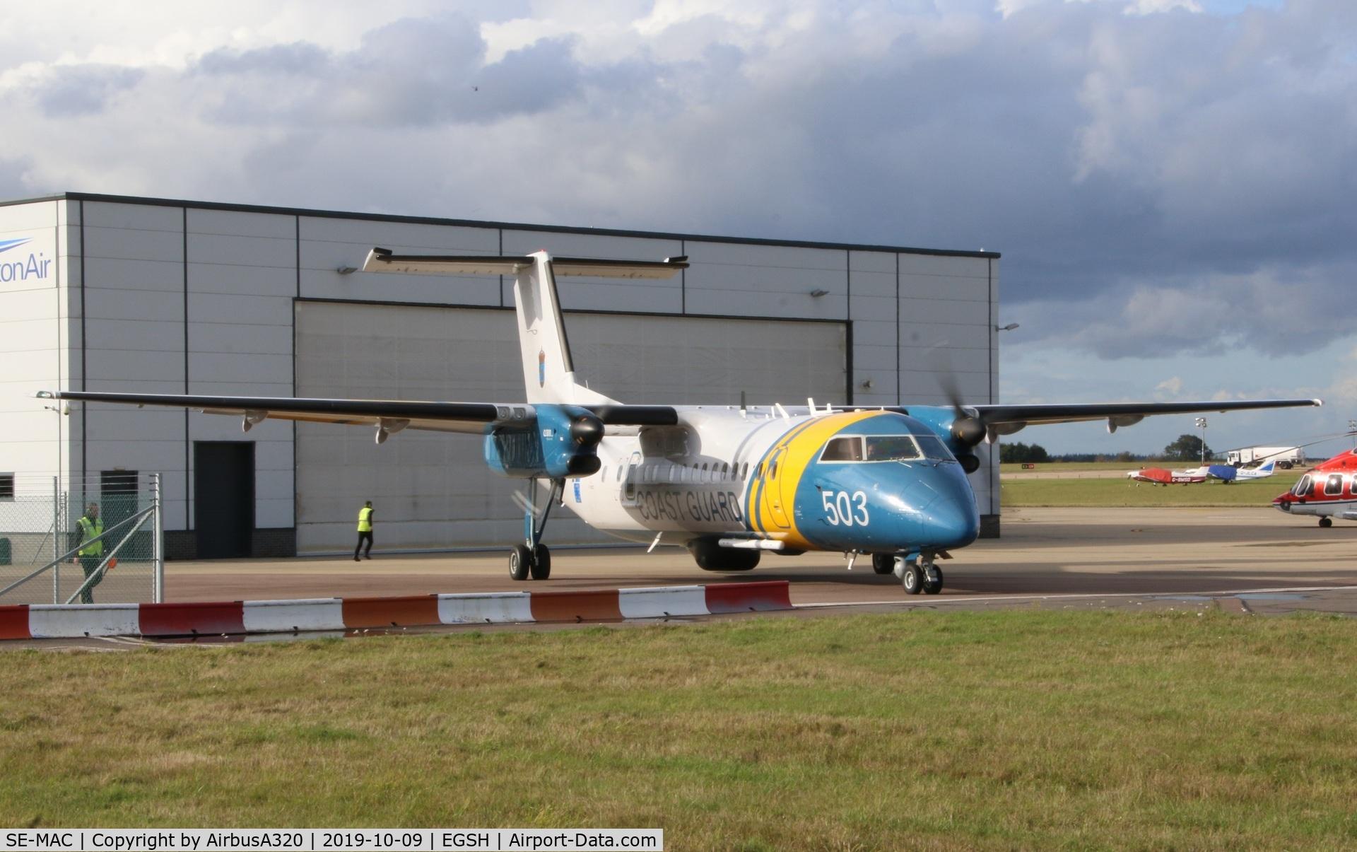 SE-MAC, 2007 De Havilland Canada DHC-8-311AQ Dash 8 C/N 638, Parked on Saxon ramp