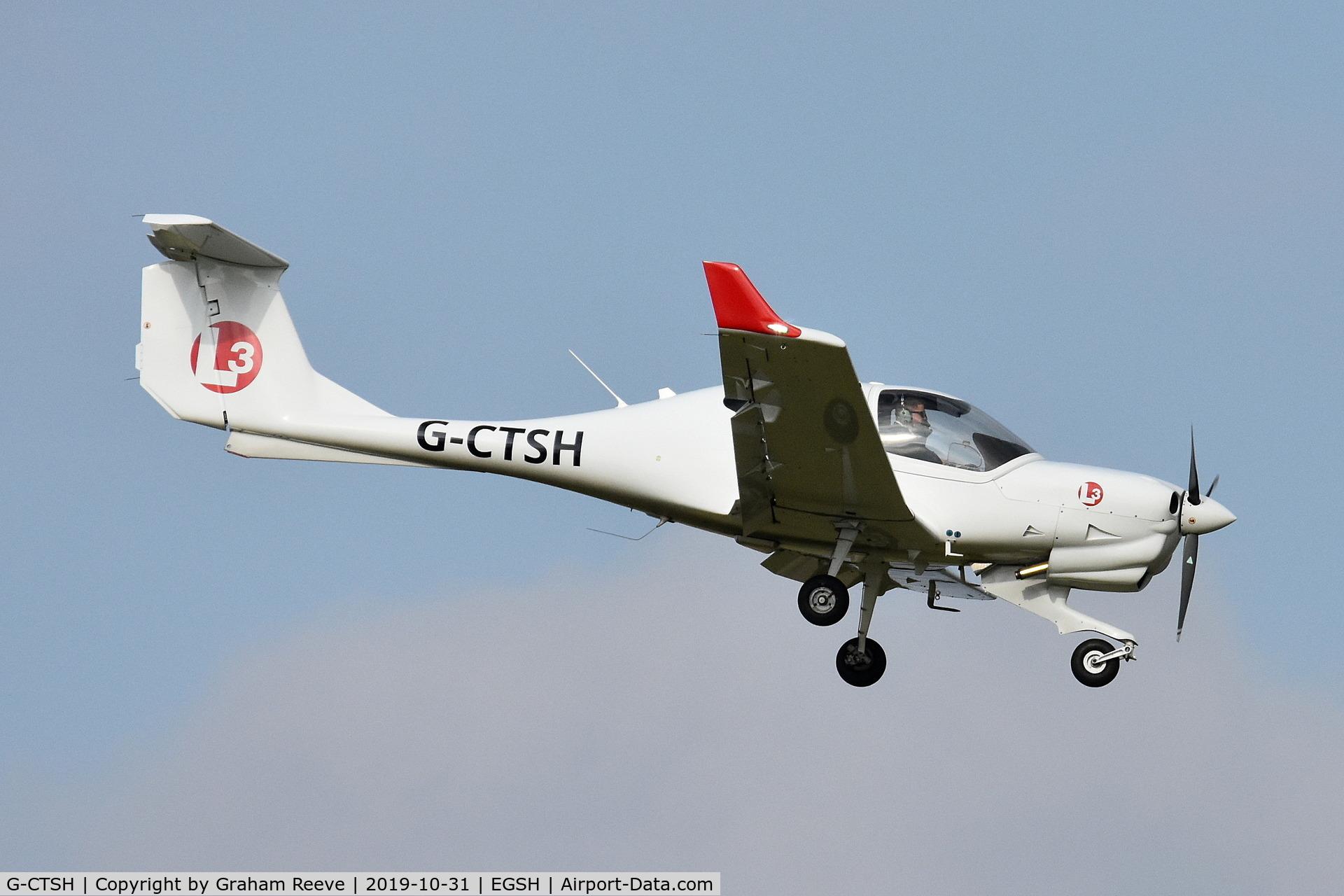 G-CTSH, 2016 Diamond DA-40 NG Diamond Star C/N 40.N310, Landing at Norwich.