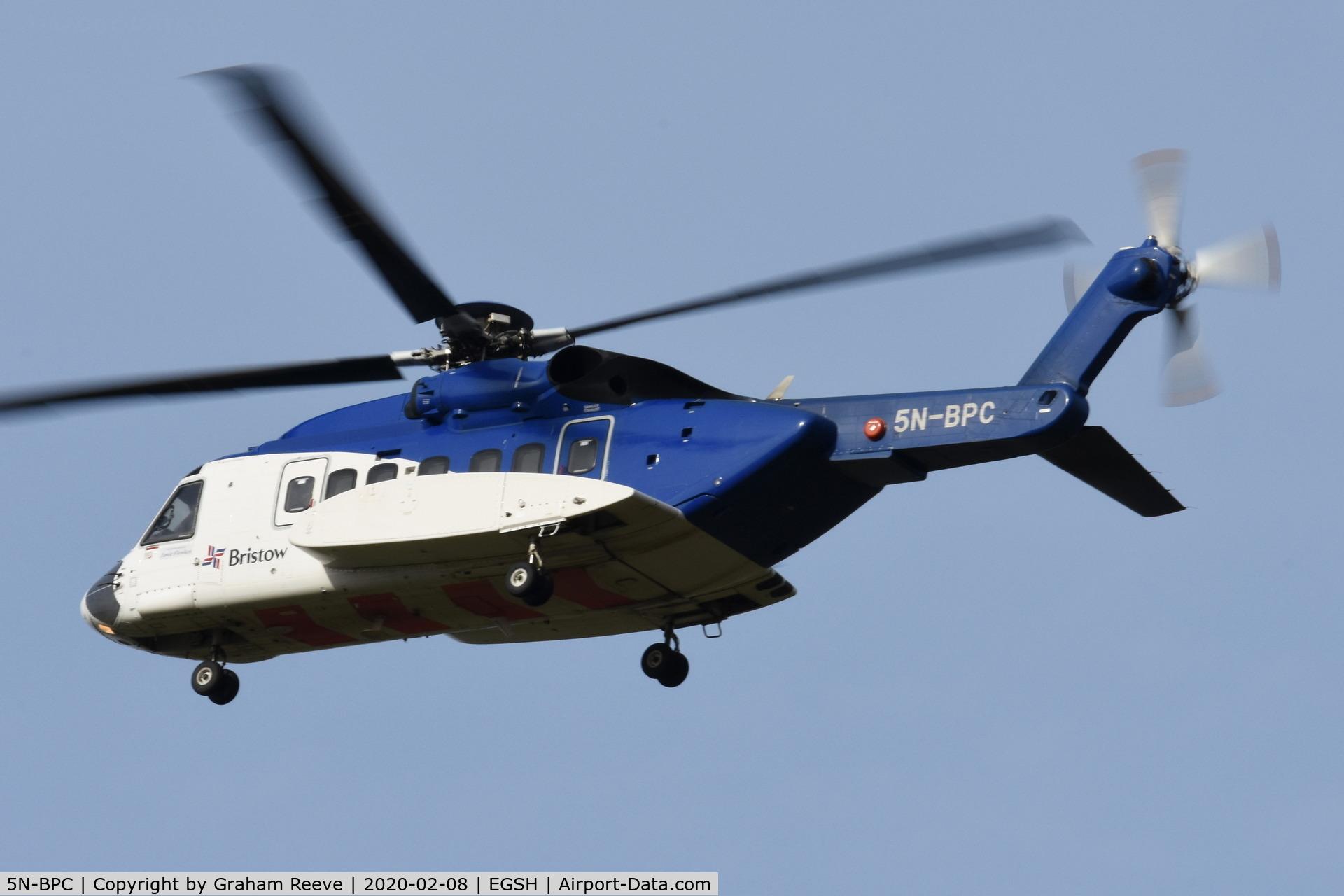 5N-BPC, 2013 Sikorsky S-92A C/N 920212, Landing at Norwich.