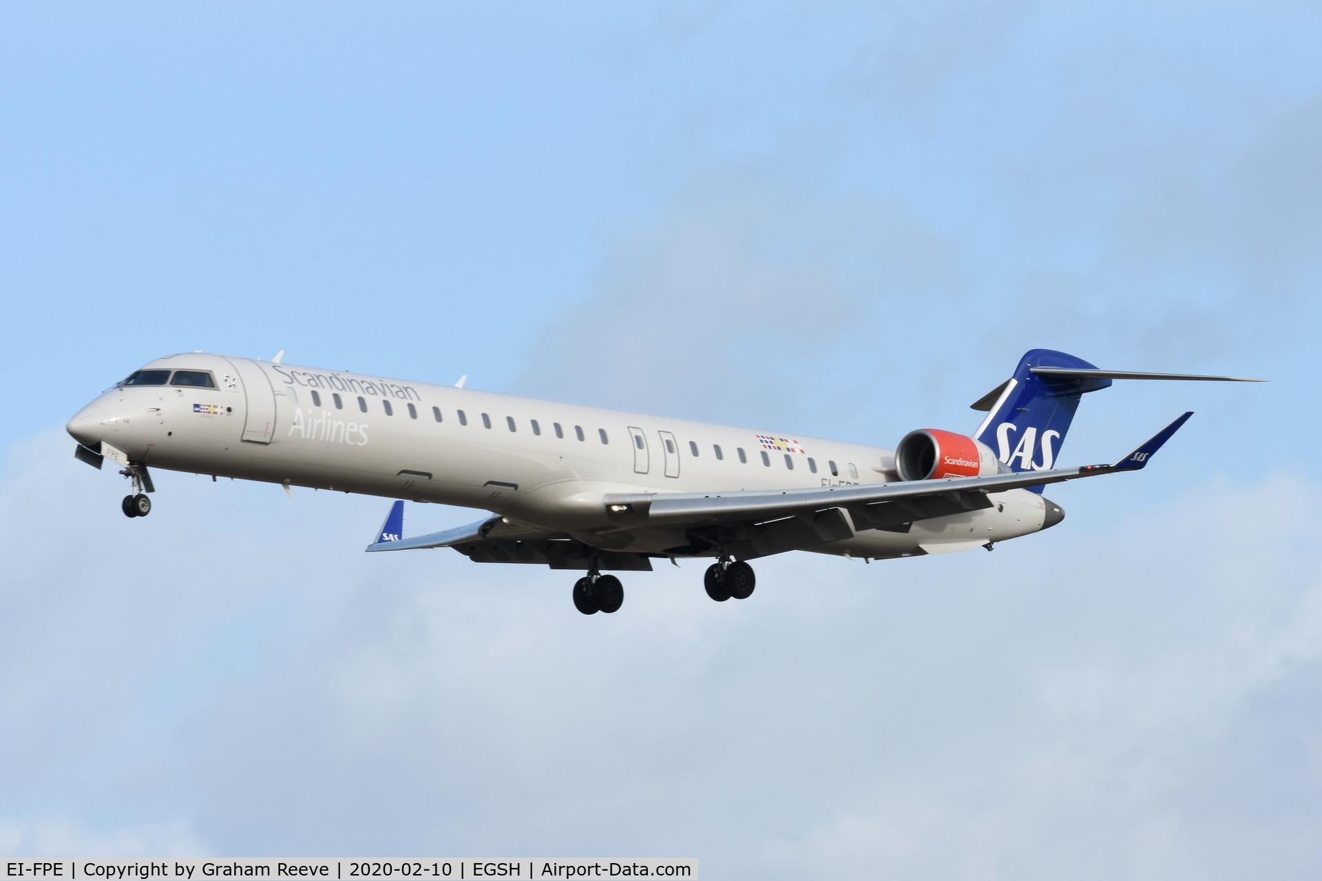 EI-FPE, 2016 Bombardier CRJ-900LR (CL-600-2D24) C/N 15402, Landing at Norwich.