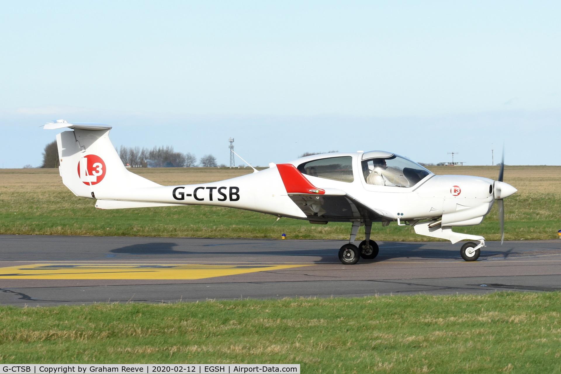 G-CTSB, 2015 Diamond DA-40NG Diamond Star C/N 40.N283, Departing from Norwich.