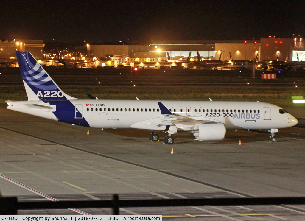 C-FFDO, 2015 Bombardier CSeries CS300 (BD-500-1A11) C/N 55002, Parked at the General Aviation for a night stop...