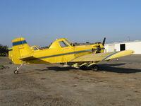 N3655R - three-quarters tail shot of Spain Air 1980 Air Tractor AT-301 rigged for dusting near South Dos Palos, CA (Fleet #5)