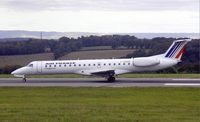 F-GUMA @ BRS - Air France Embraer RJ145 (F-GUMA) on the landing roll at Bristol Airport, Bristol, England - by Adrian Pingstone