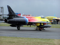 """G-PSST - A privately-owned Hawker Hunter F.58 (G-PSST, """"Miss Demeanour"""") powered by one Rolls Royce Avon Mk 207, at Kemble airfield, Kemble, Gloucestershire, England in June 2004"""