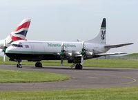 G-LOFD @ CWL - Lockheed Electra L188C (G-LOFD) of Atlantic Airlines at Cardiff (Rhoose) Airport, Cardiff, Wales.