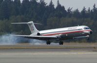 N437AA @ SEA - American Airlines MD82 landing at Seattle-Tacoma International Airport - by Andreas Mowinckel