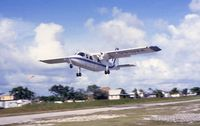 V3-HIA @ SPR - Britten Norman Islander of Island Air taking off at SPR for the 13 minute hop to Belize City Municipal (January 1993) - by Micha Lueck
