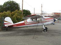 N3690V @ HWD - 1949 Cessna 120 at stormy Hayward Air Terminal, CA