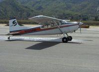 N185AW @ SZP - Cessna A 185F SKYWAGON, tri-blade prop, taxi to Runway 04 - by Doug Robertson