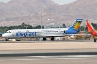 N863GA @ LAS - Allegiant Air N863GA beginning her takeoff roll on RWY 25R. - by Dean Heald