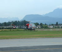 C-GSKY @ YPK - Bell 47G hovering at Pitt Meadows - by William Kelly