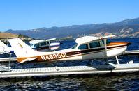 N46350 - Phoenix Flying Club 1968 Cessna 172K moored at Skylark Shores Motel, Lakeport, CA for 2006 Clear Lake Splash-in - by Steve Nation