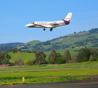 N823PM @ O69 - TBN Group 2003 Cessna 550 gear-up and leaving @ Petaluma, CA - by Steve Nation