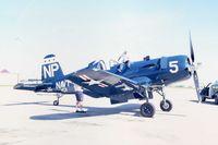 N4901W @ CID - F4U-5NL 124560 stopping over for fuel - by Glenn E. Chatfield