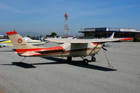 N428HS @ SQL - 1965 Cessna 182J with cover and Bear tail emblem visiting from Big Bear City, CA @ San Carlos, CA