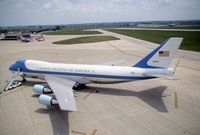 92-9000 @ CID - Air Force One parked on the cargo ramp below the control tower - by Glenn E. Chatfield