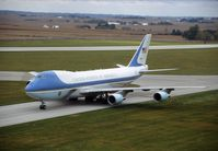 92-9000 @ CID - Air Force One taxiing in from landing runway 9 - by Glenn E. Chatfield