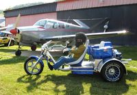 N2772V @ OH36 - Art Moose - his trike and Bonanza. He's bordering on having too much fun. - by Bob Simmermon