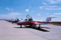 114178 @ CYXX - CT-114 Tutor Snowbirds demo @ Abbotsford Airshow approx 1975. Scanned from slide. - by Guy Pambrun